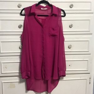Sheer long sleeve pink top